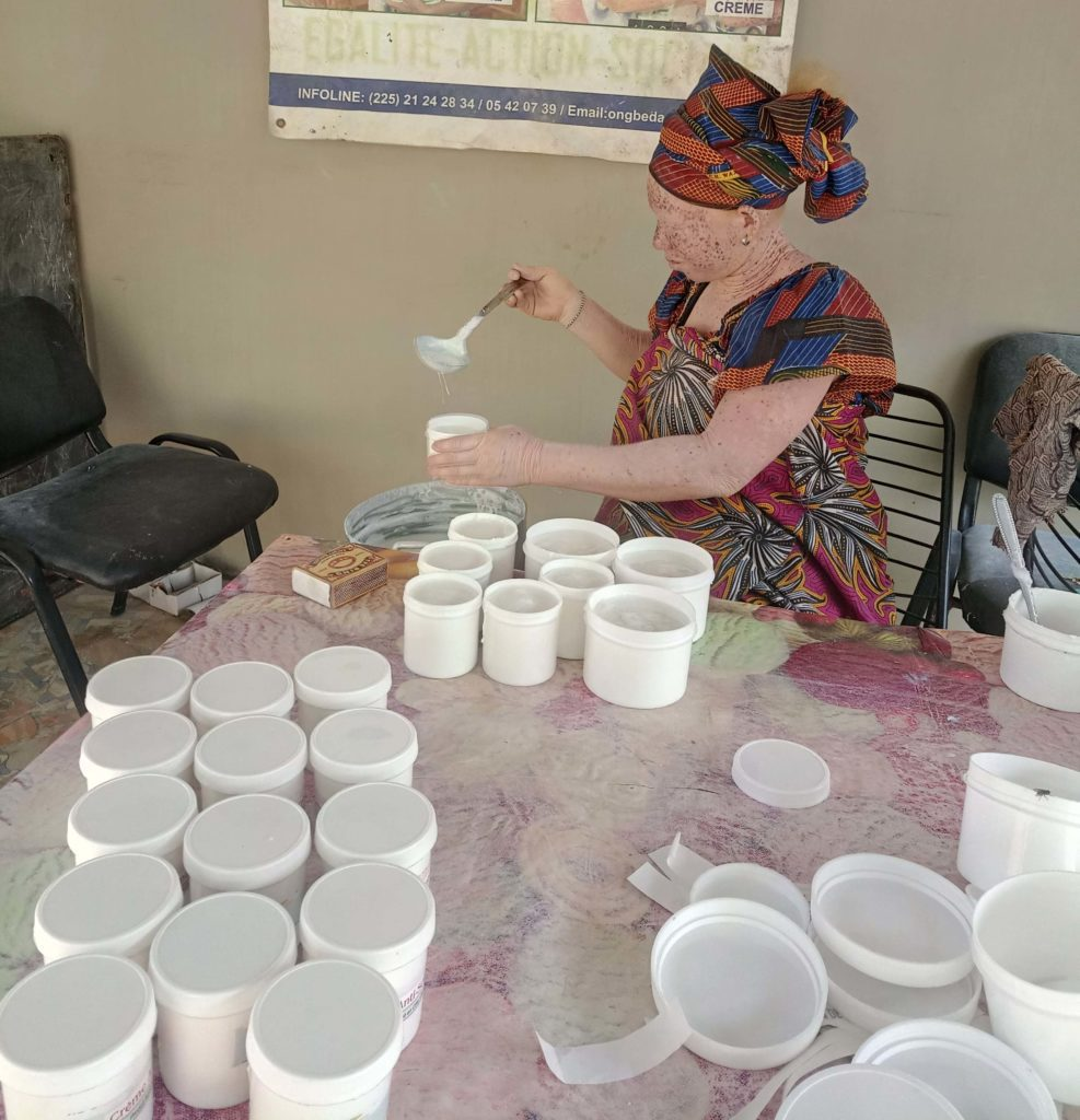 Marie-Noelle locally producing sunscreen for the albino community in Abidjan, Ivory Coast.