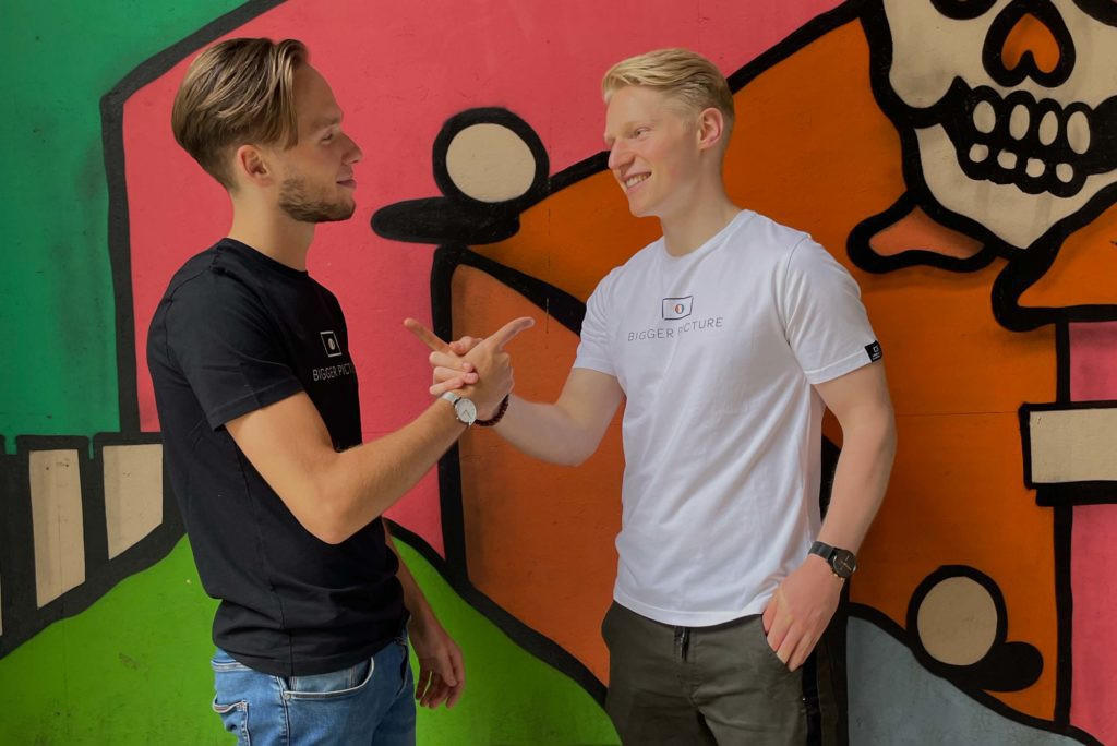 Freek and Thijmen in front of a street art wall in Tilburg for the first photoshoot of Bigger Picture Clothing, a brand that focusses on changing the world and having a positive impact on both environmental as a social level.